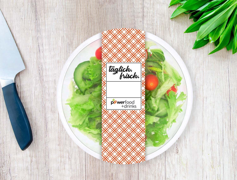 Salatverpackung, Salatschale mit Banderole