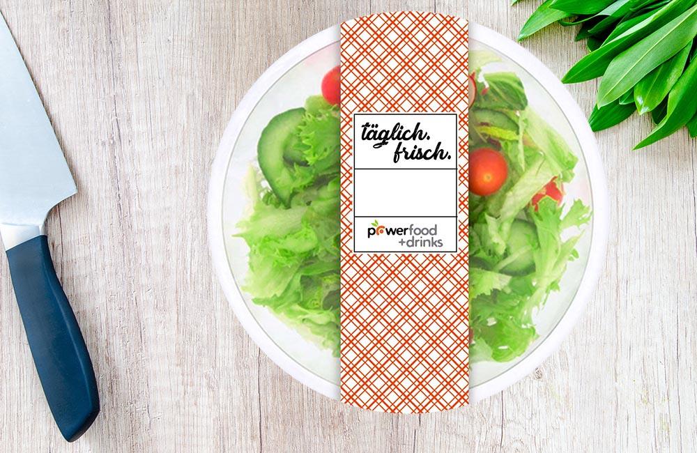 Powerfood Salat Verpackung Design