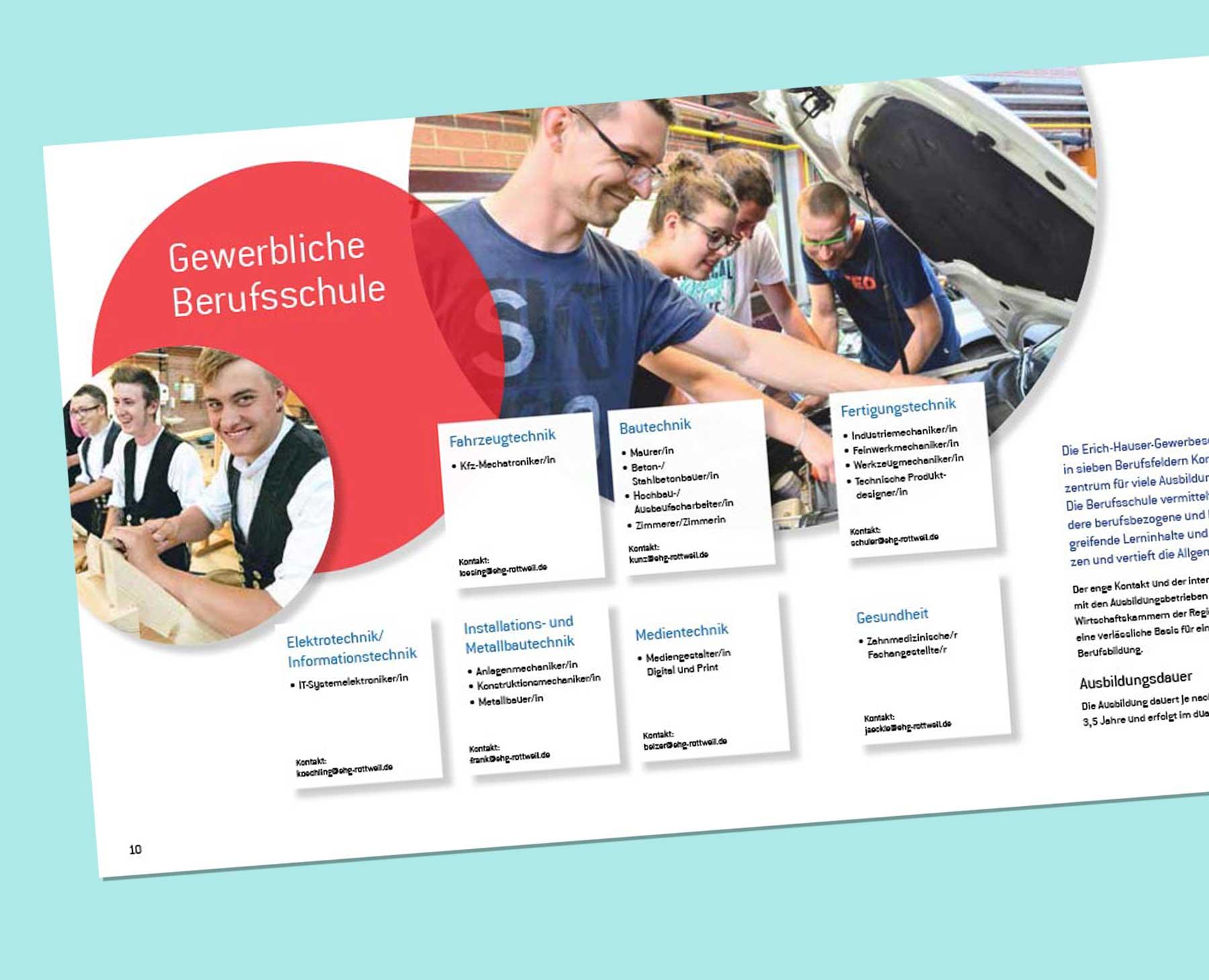 Ansicht der Broschüre Erich-Hauser-Gewerbeschule Innenseite