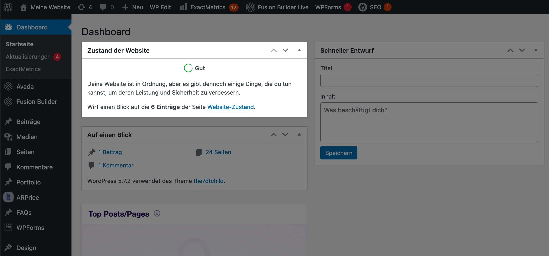 Ansicht WordPress-Backend, Zustand der Website